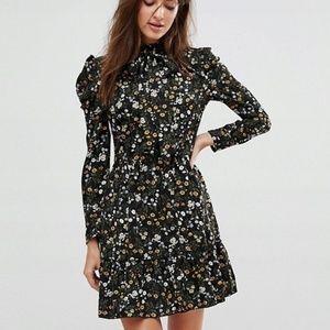 ASOS Parisian Floral Ruffle Tie Waist Dress